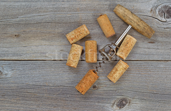 Stok fotoğraf: Birkaç · kullanılmış · şarap · ahşap · rustik · ahşap