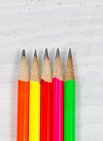 Colorful Pencil Tips on wooden desktop  Stock photo © tab62