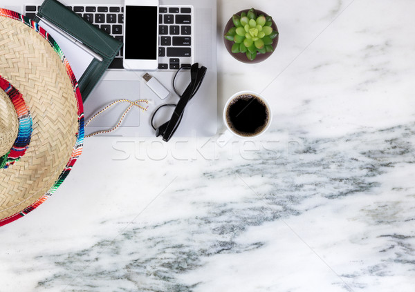 Cinco de Mayo holiday celebration on working marble desktop sett Stock photo © tab62