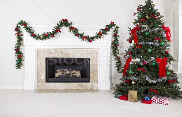 Gas Insert Fireplace in Use during Holidays  Stock photo © tab62
