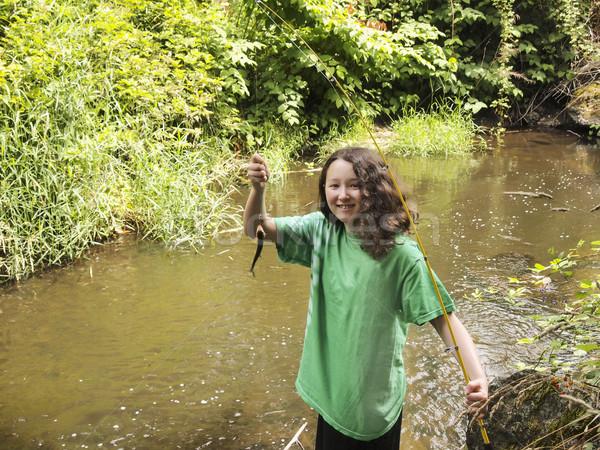 若い女の子 小 トラウト 写真 釣り ストックフォト © tab62