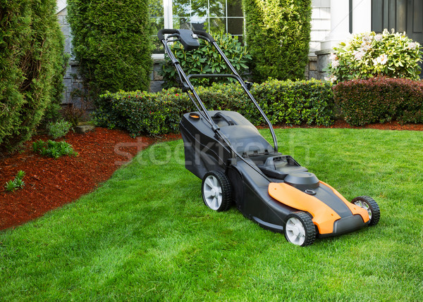 Electric Battery Lawn Mower on Front Yard  Stock photo © tab62