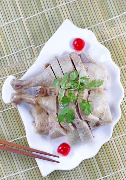 Fresh Chinese cuisine chicken in shell shaped plate  Stock photo © tab62