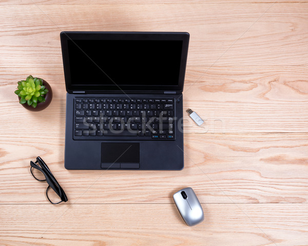 Limpar organizado carvalho área de trabalho ver secretária Foto stock © tab62
