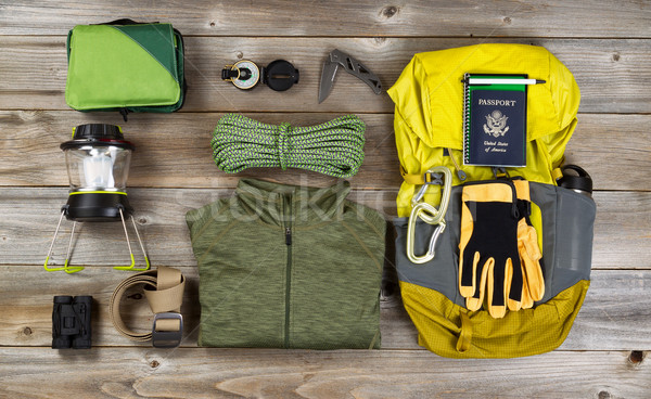 Climbing gear for hiking on rustic wooden boards  Stock photo © tab62
