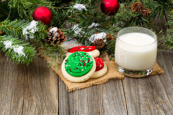 Colorful sweet sugar cookies and milk for the holiday season  Stock photo © tab62