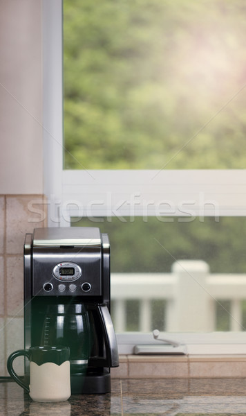 Freshly brewed dark coffee ready for morning wake up Stock photo © tab62