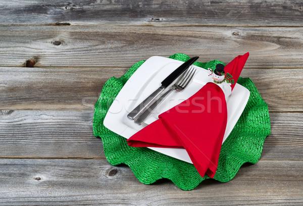 Dîner fêtes vacances rustique bois fête Photo stock © tab62