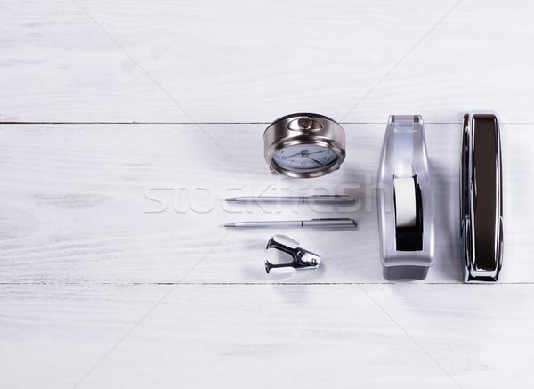 Aço inoxidável artigos de papelaria objetos branco madeira ver Foto stock © tab62