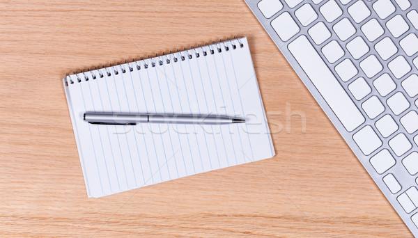 традиционный бумаги пер клавиатура красный дуб Сток-фото © tab62