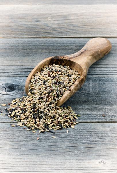 Nyers rizs fából készült merítőkanál klasszikus stílus Stock fotó © tab62