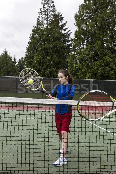 テニス ボレー プレーヤー 若い女の子 相手 ストックフォト © tab62