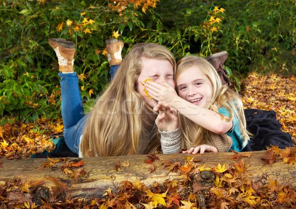 Sisters having fun in the fall season  Stock photo © tab62