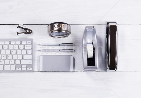 Silber Schreibwaren Objekte weiß Holz Stock foto © tab62