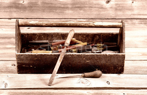 Foto stock: Vintage · caixa · de · ferramentas · trabalhar · ferramentas · velho