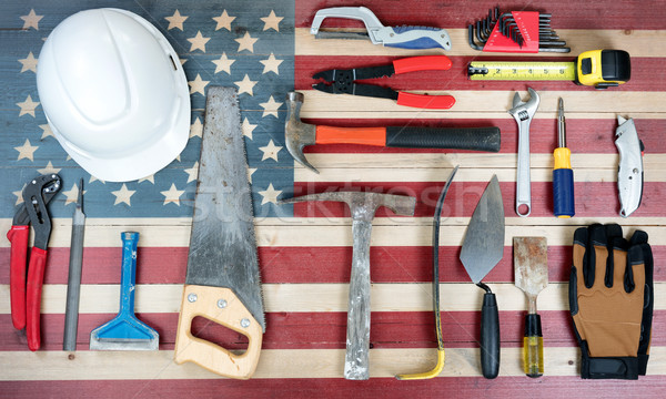 Labor Day holiday background with USA rustic wooden flag and man Stock photo © tab62