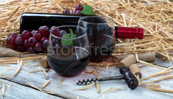 眼鏡 赤ワイン プラス ボトル ブドウ ストックフォト © tab62