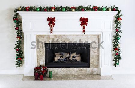Kandalló felfelé ünnepek földgáz díszített fa Stock fotó © tab62