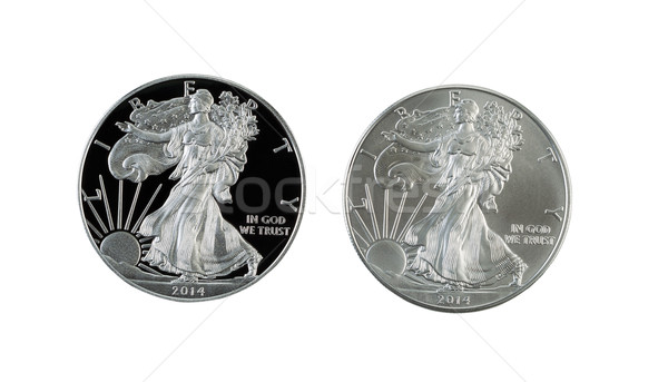 Proof and Uncirculated American Silver Eagle Dollar Coins isolat Stock photo © tab62