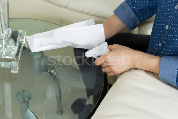 Cleaning Glass End Table next to Sofa  Stock photo © tab62