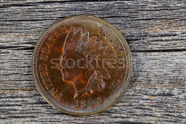 Indian Head Cent in uncirculated condition on old wood  Stock photo © tab62