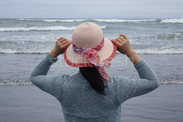 Woman watching waves on Pacific Ocean  Stock photo © tab62