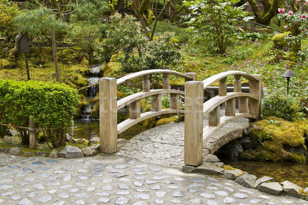Bridge crossing stream in Japanese Garden Stock photo © tab62