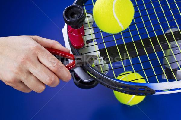 Tennisracket onderhoud hand string Blauw Stockfoto © tab62