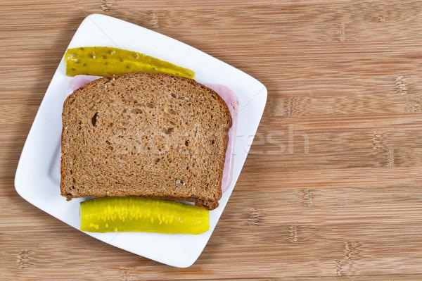 Jamón sándwich pan de trigo entero primer plano horizontal superior Foto stock © tab62