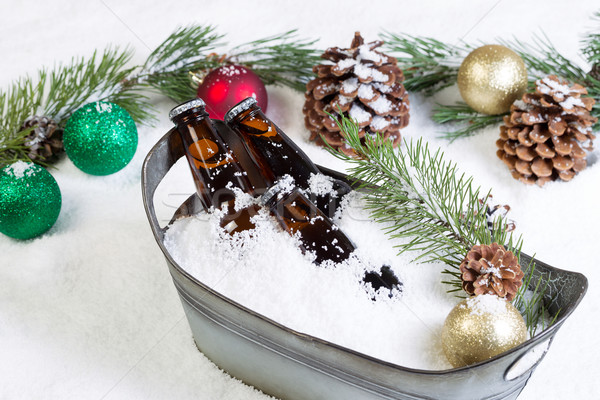 Closeup of bottled beer ready to drink during the seasonal holid Stock photo © tab62