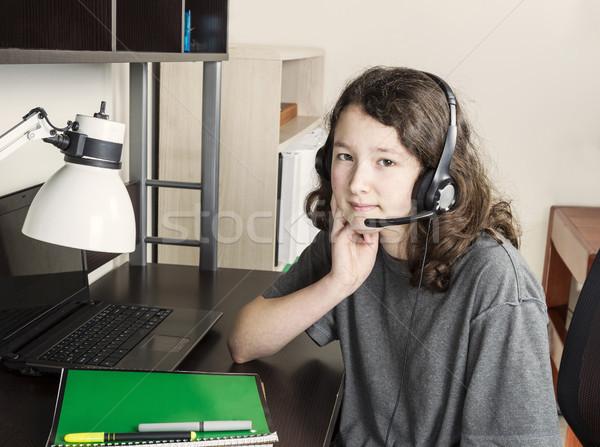 宿題 ブレーク 時間 若い女の子 ヘッド ストックフォト © tab62