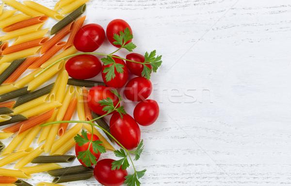 Raw pasta ingredients on white rustic wood  Stock photo © tab62