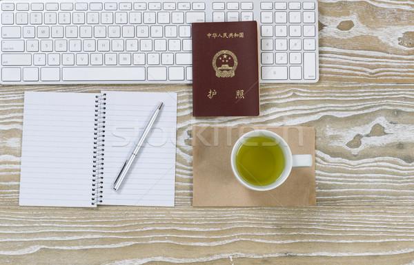 служба Desktop Китай паспорта зеленый чай Top Сток-фото © tab62