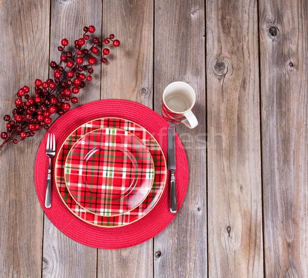 Xmas dinner setting for the festive holiday season on rustic woo Stock photo © tab62