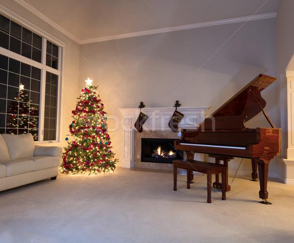 Nappali díszített karácsonyfa akasztás zokni fényes Stock fotó © tab62