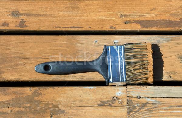 Kullanılmış boya fırçası ahşap leke doğal sedir Stok fotoğraf © tab62