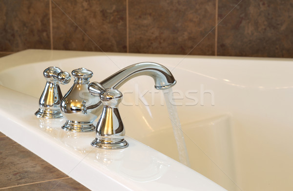 New Chrome Faucet in Master Bath Tub  Stock photo © tab62