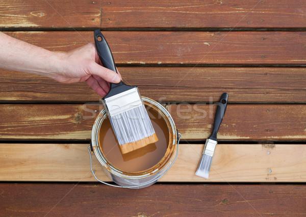ペイントブラシ することができます 木材 染色 水平な 写真 ストックフォト © tab62