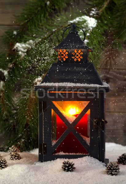 Metal Lantern with Glowing Candle during the holiday season  Stock photo © tab62