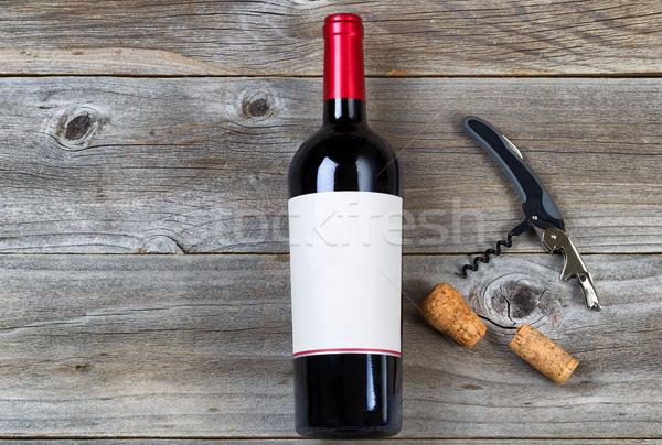 Vino rosso rustico legno top view shot Foto d'archivio © tab62