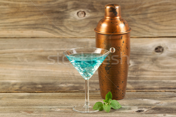 Freshly made Mixed Drink with Mint on Weathered Wood  Stock photo © tab62