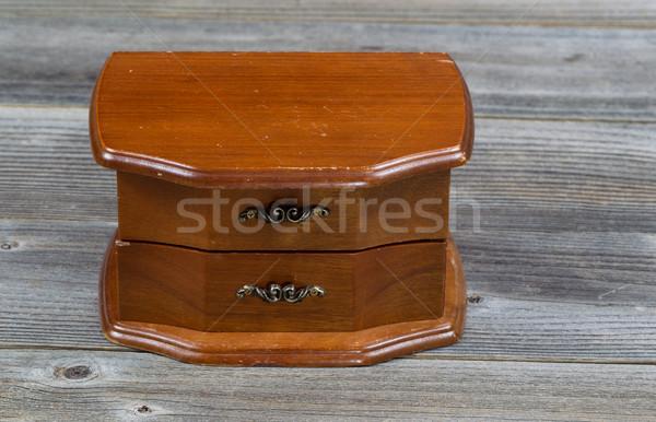 Oak antique dresser on rustic wooden boards Stock photo © tab62