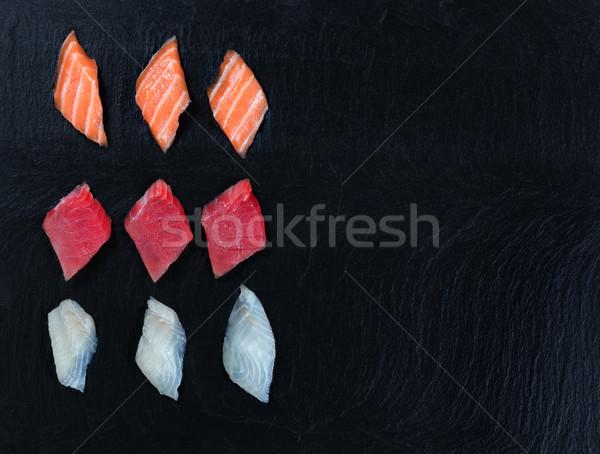 Variety of Sushi on natural slate stone background Stock photo © tab62