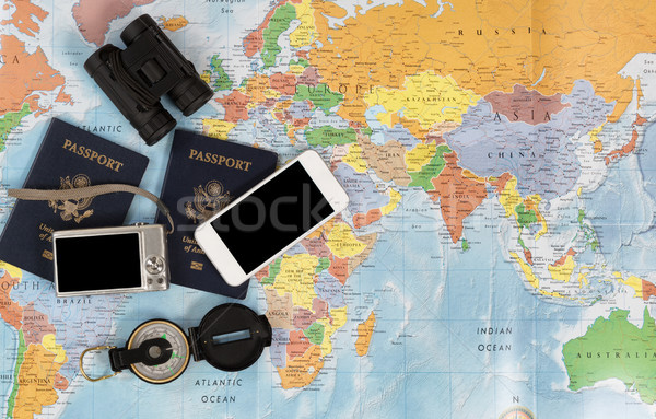 United States passports with other travel items Stock photo © tab62
