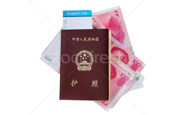 China Passport with money on white  Stock photo © tab62