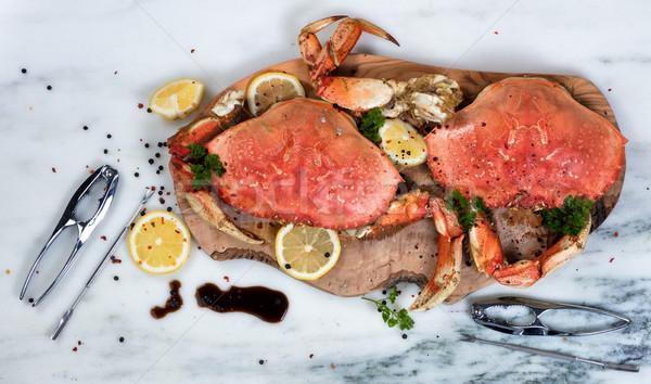 Cuit crabe épices bois serveur Photo stock © tab62