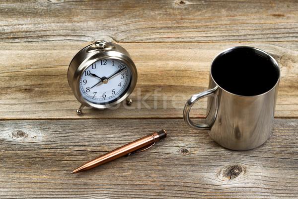 Retro metal work objects on rustic wooden desktop Stock photo © tab62