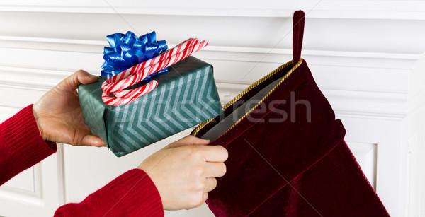 Karácsony harisnya cukorka ajándék vízszintes fotó Stock fotó © tab62