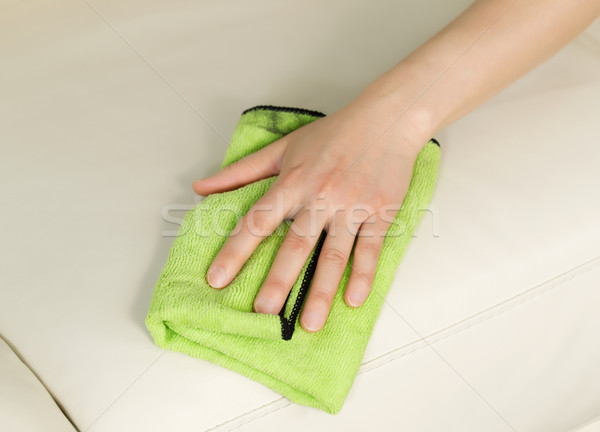 Cleaning Leather Sofa with Rag  Stock photo © tab62