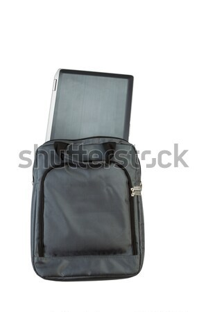 Gun and Notebook computer with carry bag on white background  Stock photo © tab62